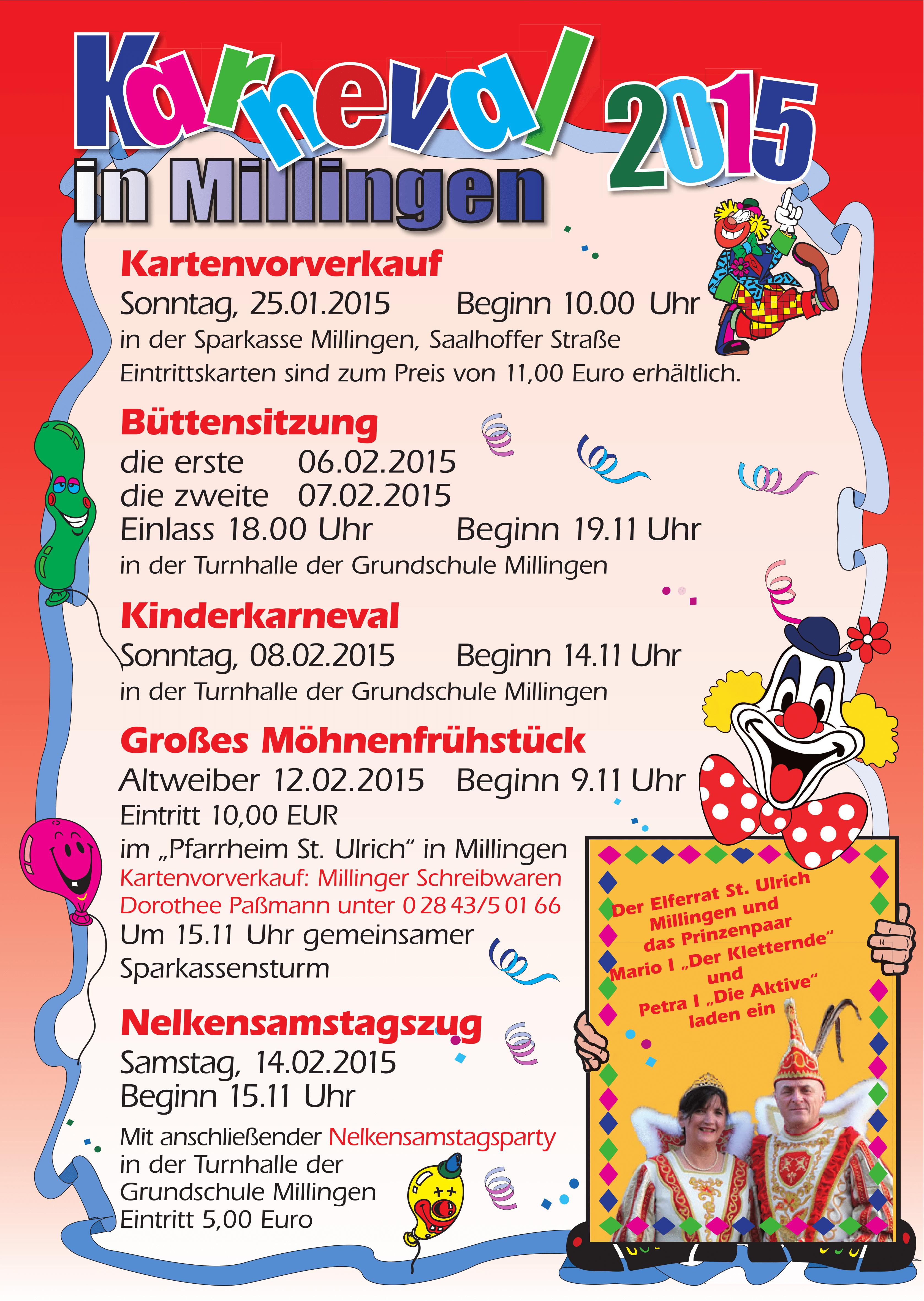 Karneval in Millingen – Terminübersicht